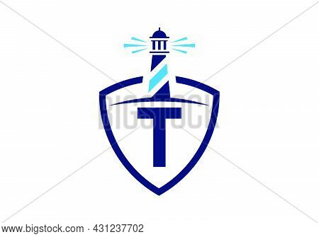 Initial T Monogram Alphabet In A Shield With The Lighthouse. Harbor Logo. Font Emblem. Modern Vector