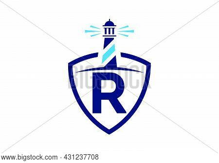 Initial R Monogram Alphabet In A Shield With The Lighthouse. Harbor Logo. Font Emblem. Modern Vector