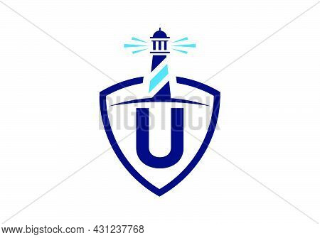 Initial U Monogram Alphabet In A Shield With The Lighthouse. Harbor Logo. Font Emblem. Modern Vector