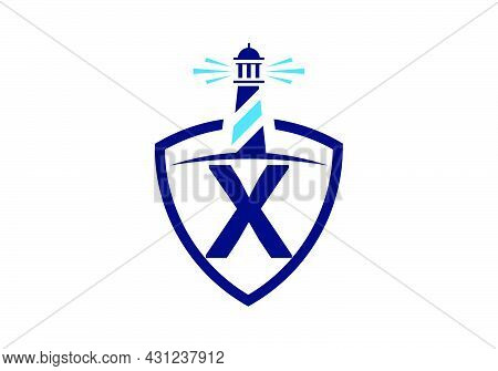 Initial X Monogram Alphabet In A Shield With The Lighthouse. Harbor Logo. Font Emblem. Modern Vector