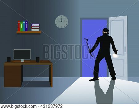 A Thief Dressed In Black Broke The Door Of The House To Steal Something. There Was A Blue Light In T