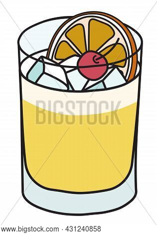 Whiskey Sour Iba Cocktail. Stylish Hand-drawn Doodle Cartoon Style Yellow Drink In A Rocks Glass Gar