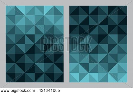 Abstract Geometric Pattern Background. Bauhaus Art Style Blue Color Tone. Triangle And Square Shape.