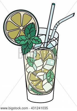 Mojito Iba Cocktail. Stylish Hand-drawn Doodle Cartoon Style Green Drink Served In A Highball Glass