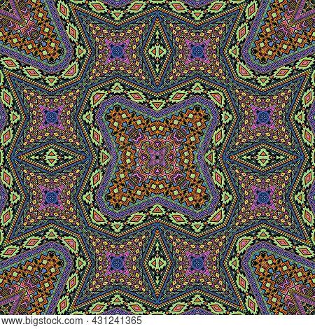 Scandinavian Seamless Pattern Vector Design. Damask Geometric Texture. Scarf Print In Ethnic Style.