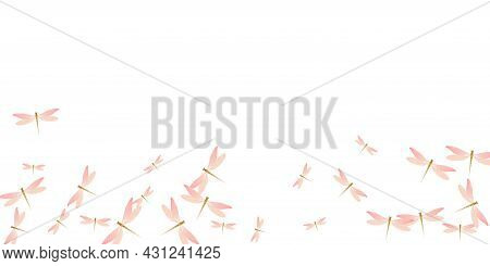Exotic Rosy Pink Dragonfly Cartoon Vector Illustration. Spring Little Damselflies. Simple Dragonfly