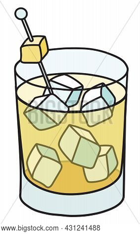 Yellow Penicillin Cocktail. Stylish Hand-drawn Doodle Cartoon Style Drink In A Rocks Glass Garnished