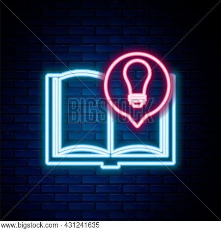 Glowing Neon Line Interesting Facts Icon Isolated On Brick Wall Background. Book Or Article And Ligh
