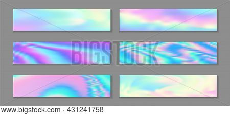 Holographic Fashionable Flyer Horizontal Fluid Gradient Princess Backgrounds Vector Set.