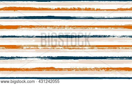 Pain Freehand Grunge Stripes Vector Seamless Pattern. Classic Kids Clothes Fabric Design. Vintage