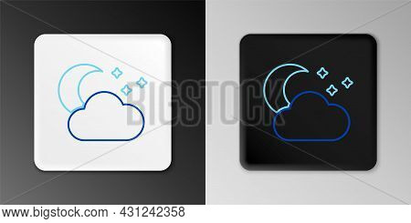 Line Cloud With Moon And Stars Icon Isolated On Grey Background. Cloudy Night Sign. Sleep Dreams Sym