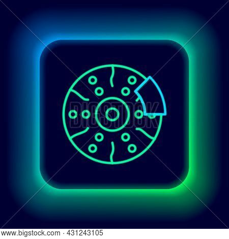 Glowing Neon Line Car Brake Disk With Caliper Icon Isolated On Black Background. Colorful Outline Co