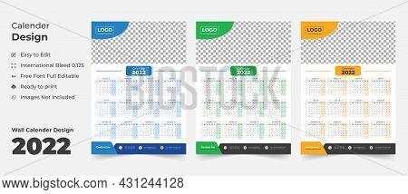 2022 Wall Calendar With Blue Layout,blue Wall Calendar 2022,new Wall Calendar 2022 Template - 12 Mon