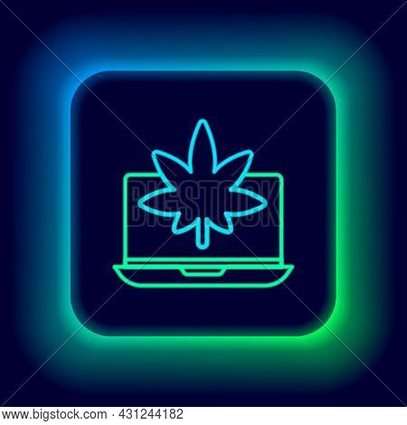 Glowing Neon Line Laptop And Medical Marijuana Or Cannabis Leaf Icon Isolated On Black Background. O