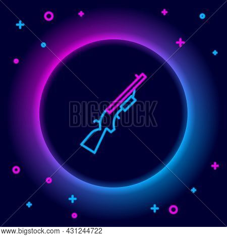 Glowing Neon Line Shotgun Icon Isolated On Black Background. Hunting Gun. Colorful Outline Concept.