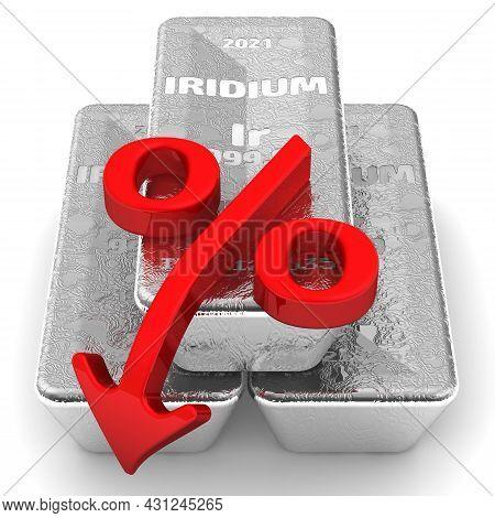 Decrease In The Value Of Iridium. There Are Three Ingots Of 999.9 Fine Iridium And One Red Percentag