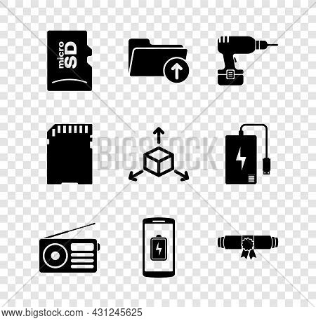 Set Micro Sd Memory Card, Download Arrow With Folder, Drill Machine, Radio, Smartphone Battery Charg
