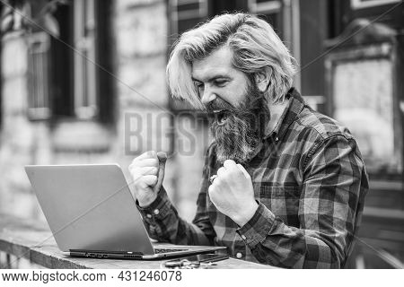 Living In Digital Age. Freelancer Man Working On Computer. Businessman Using Notebook And Phone. Esc
