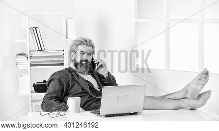 Business Success. Technology. Handsome Man Using Laptop At Home. Self Quarantine Routine. Serene Bar