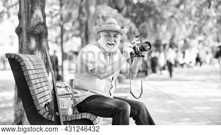 Time To Relax. Old Man Relax On Bench. Man Tourist Use Camera Take Photo. Concept Of Photography. Se