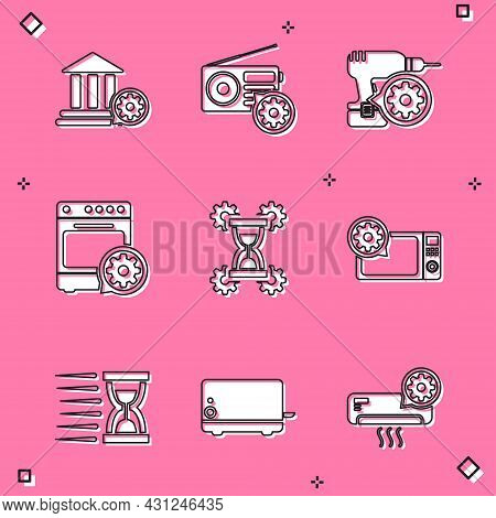 Set Bank Building Setting, Radio, Drill Machine, Oven, Hourglass And Microwave Oven Icon. Vector
