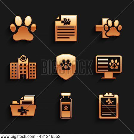 Set Animal Health Insurance, Pets Vial Medical, Clinical Record Pet, On Monitor, Medical Veterinary