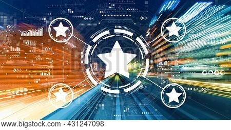 Rating Star Concept With Abstract High Speed Technology Motion Blur