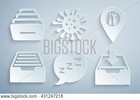 Set Speech Bubble With Snoring, Location Service, Drawer Documents, Download Inbox, Bacteria And Ico