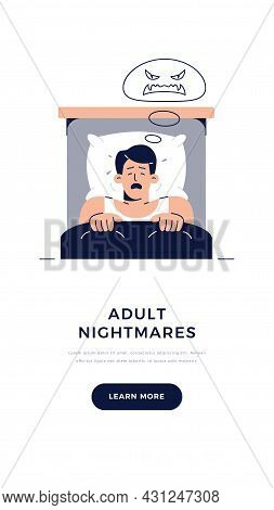 Nightmares In Adults Banner. Frightened Man Character Has A Bad Dream, Is Scared Of Monster From Nig