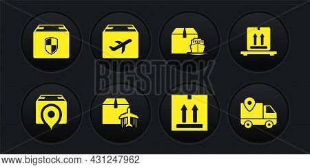 Set Location With Cardboard Box, Cardboard Boxes Pallet, Plane And, Traffic, Cargo Ship, Delivery Tr