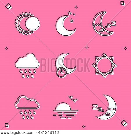 Set Eclipse Of The Sun, Moon And Stars, Icon, Cloud With Rain, Sleeping Moon, Sun, And Sunset Icon.
