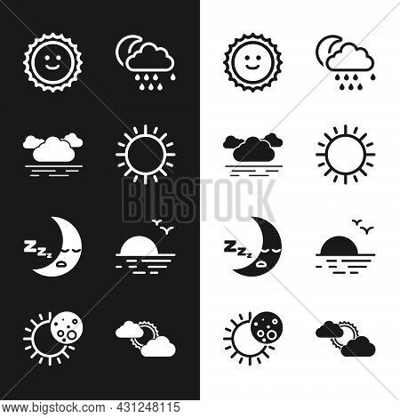 Set Sun, Cloud, With Rain And Moon, Moon Icon, Sunset, Cloud Weather And Eclipse Of Sun Icon. Vector