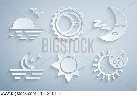 Set Sun, Moon Icon, And Stars, Eclipse Of The Sun, And Sunset Icon. Vector