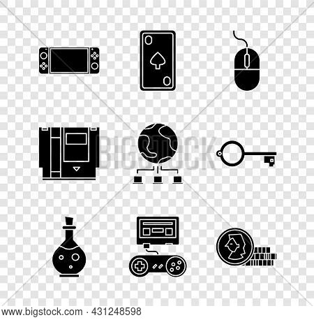 Set Portable Video Game Console, Playing Card With Diamonds, Computer Mouse, Bottle Magic Elixir, Ga