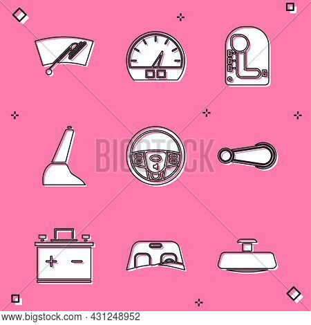 Set Windscreen Wiper, Speedometer, Gear Shifter, Car Handbrake, Steering Wheel, Door Handle, Battery