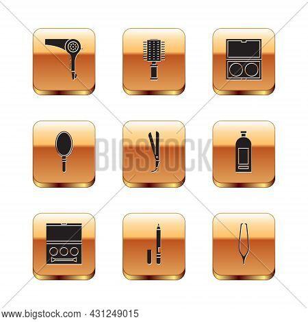 Set Hair Dryer, Eye Shadow Palette, Eyeliner, Eyebrow, Curling Iron, Hand Mirror, Makeup Powder With