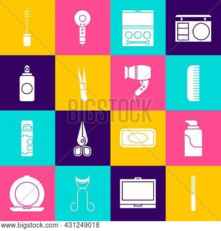Set Nail File, Cream Cosmetic Tube, Hairbrush, Eye Shadow Palette, Eyebrow Tweezers, Spray Can, Masc