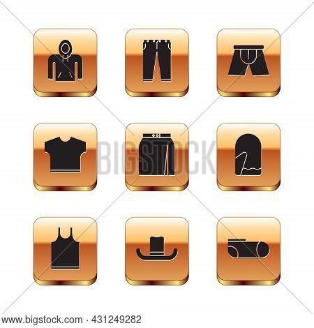 Set Hoodie, Sleeveless T-shirt, Man Hat, Skirt, Men Underpants, Sport Socks And Pants Icon. Vector