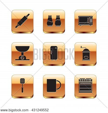 Set Rolling Pin, Spatula, Coffee Cup, Refrigerator, Electronic Scales, Microwave Oven, Oven And Salt