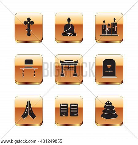 Set Christian Cross, Hands In Praying Position, The Commandments, Japan Gate, Orthodox Jewish Hat Wi