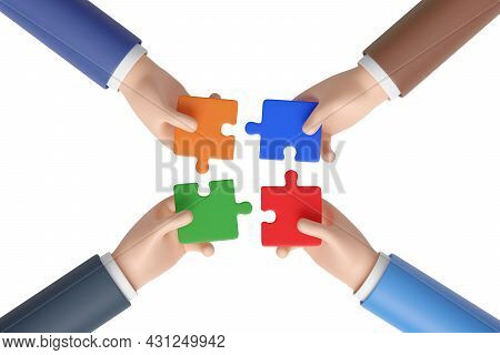 Four Cartoon Hands Joining A Puzzle Isolated On White Background. Work Team Concept. 3d Illustration