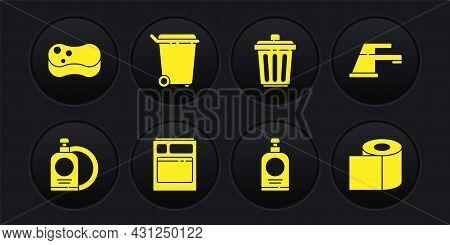 Set Dishwashing Liquid Bottle And Plate, Water Tap, Kitchen Dishwasher Machine, Hand Sanitizer, Tras