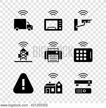 Set Smart Truck, Microwave Oven, Security Camera, Exclamation Mark In Triangle, Home With Wireless,