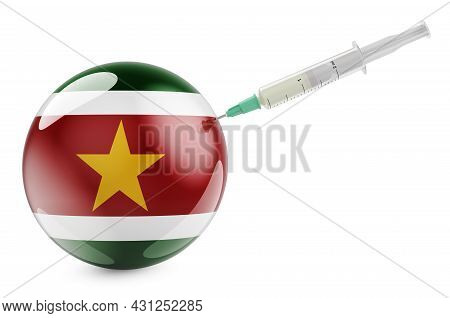 Syringe With Surinamese Flag. Vaccination In Suriname Concept, 3d Rendering Isolated On White Backgr