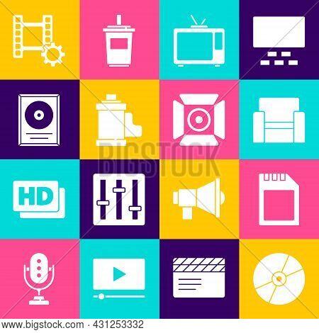 Set Cd Or Dvd Disk, Sd Card, Cinema Chair, Retro Tv, Camera Film Roll Cartridge, Award Frame, Play V