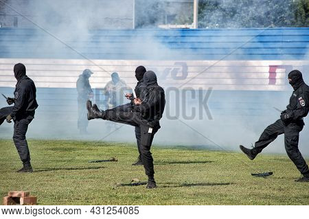 A Police Swat Team Operation Training: Abakan, Russia - August 21, 2018