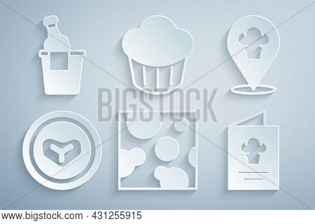 Set Cheese, Chef Hat With Location, Steak Meat Plate, Cookbook, Cupcake And Champagne In An Ice Buck