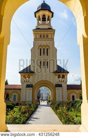 View Of Orthodox Cathedral On Sunny Day In Alba Iulia, Romania, 2021