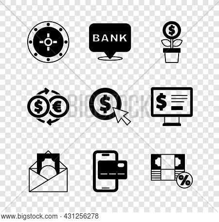 Set Safe, Bank Building, Dollar Plant, Envelope With Dollar Symbol, Mobile Banking, Money Percent, E