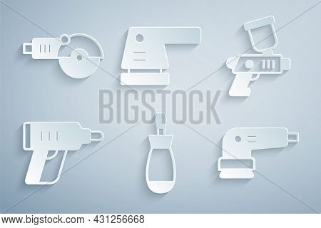 Set Screwdriver, Paint Spray Gun, Electric Cordless Screwdriver, Sander, And Angle Grinder Icon. Vec